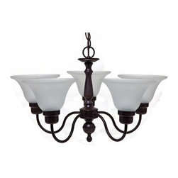 "BOSTON HARBOR - 5-Light Chandelier Fixture Oil Rubbed Bronze - Frosted glass shade. 25"" wide x 15"" high. Uses clear medium base bulbs 60 watt maximum (sold separately)."