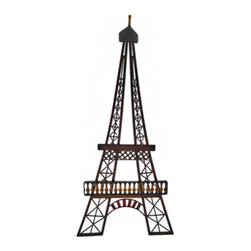 Eiffel Tower Metal Wall Art with Painted Accents 29 Inch. - This beautiful metal wall art features the famous Eiffel tower with artfully painted enamel accents. It measures 29 inches tall, 13 1/2 inches wide and easily mounts to the wall with a single nail or screw. This piece makes a great gift for a friend that is a worldly traveler, and looks great in bistros and cafes, as well as in any room in your home.