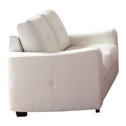 Coaster - Coaster Jasmine Leather Love Seat in White - Coaster - Loveseats - 502712 - This leather love seat will make a wonderful addition to your living room or den. Its contemporary shape enhances any room with big plush back cushions and box seat cushions. A stitched design adorns the back cushions as well as the outsides of the square track arms. The slightly flared design creates an inviting feel and tapered wooden block feet support this loveseat. Pair with the coordinating sofa and chair for a lovely room setting.