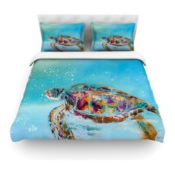 """Kess InHouse - Josh Serafin """"Home Sweet Home"""" Blue Green Cotton Duvet Cover (Twin, 68"""" x 88"""") - Rest in comfort among this artistically inclined cotton blend duvet cover. This duvet cover is as light as a feather! You will be sure to be the envy of all of your guests with this aesthetically pleasing duvet. We highly recommend washing this as many times as you like as this material will not fade or lose comfort. Cotton blended, this duvet cover is not only beautiful and artistic but can be used year round with a duvet insert! Add our cotton shams to make your bed complete and looking stylish and artistic! Pillowcases not included."""
