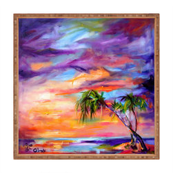 DENY Designs - Ginette Fine Art Florida Palms Beach Square Tray - With DENY's multifunctional square tray collection, you can use it for decoration in just about any room of the house or go the traditional route to serve cocktails. Either way, you��_��__ll be the ever so stylish hostess with the mostess!