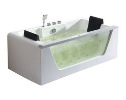 EAGO - EAGO AM196HO 6' Clear Rectangular Whirlpool Bath Tub With Inline Heater - We are very excited to offer you this breath taking AM196 EAGO whirlpool bath tub! The design has changed the concept of bathtubs to something like a 'pool' and makes you feel so close and intimate with water. It will release your natural deep desire for the basic element of life; H2O.This tub features a beautiful design which will add the finishing touches to any bathroom. We are confident that you will indulge in a state of complete relaxation and tranquility with all the features that this tub has to offer. Be prepared to purchase luxury at its finest!