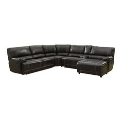 Homelegance - Homelegance Cale Reclining Sectional in Black Leather - Your living room's décor requires a bold statement piece that provides comfort and function. The Cale Collection will provide your family and friends the ultimate spot for both. Covered in a black bonded leather match that features contrast white stitching, there is a hint of masculinity that permeates the collection. Featuring plush seating along with reclining end seat, cup holders, hidden storage and reclining end chaise, each person will have the best seat in the house.