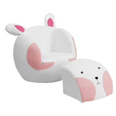 Flash Furniture - Flash Furniture Kids Rabbit Chair and Footstool - Kids will now get to enjoy furniture designed specifically for their size! This fun set features a chair and footstool. The footstool fits snug inside the chair for a clean appearance or for easy transporting. The soft ears on the back of the chair add an adorable characteristic. The vinyl upholstery ensures easy cleaning after accidents or for quick wipe offs.