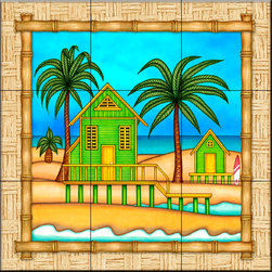 The Tile Mural Store (USA) - Tile Mural - Surf Shack 1   - Kitchen Backsplash Ideas - This beautiful artwork by Dan Morris has been digitally reproduced for tiles and depicts a bordered beach scene.  Beach scene tile murals are great as part of your kitchen backsplash tile project or your tub and shower surround bathroom tile project. Waterview images on tiles such as tiles with beach scenes and sunset scenes on tiles and tropical tile scenes add a unique element to your tiling project and are a great kitchen backsplash idea or bathroom tile idea. Use one or two of our beach scene tile murals for a wall tile project in any room in your home for your wall tile project.