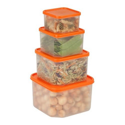 4 Piece Food Storage Container Set - Honey-Can-Do KCH-03833 4-Piece Locking Food Container Set, Clear. This 4-piece set of food storage containers is perfect for storing leftovers, make-ahead meals and on-the-go lunches. The set includes one 0.5L container, one 0.95L container, one 1.8L container and one 3L container.  Dishwasher, microwave and freezer safe. When using in microwave, open closure clips on each side and open corner of lid to vent. Not for use in ovens, under broilers or on stove-top. BPA Free.