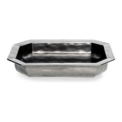 Pewter Stoneware Rectangular Baker - Light turns to satin along the simple angles of the Pewter Stoneware Rectangular Baker, a ceramic oven-to-table casserole in an elongated octagonal form which has been traditionally dressed in cool-toned metallic glaze. Make casseroles, spoon breads, and other large-pan foods feel sophisticated with this useful and handsome stoneware piece.