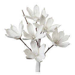 Z Gallerie - Magnolia Stem - Set of 3 - Simply beautiful, our pure White Magnolia stem makes easy work of creating an outstanding floral arrangement. The long 42 stem holds six large White blossoms, with pliable foam petal and wired stems to allow for flexibility in arranging. Weve used just a single stem to create this display, but add more stems for a larger, fuller bouquet. Also, make sure to check out our great collection of stylish vases to compliment these sensational floral pieces.