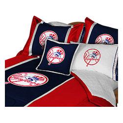 Store51 LLC - MLB New York Yankees Baseball Team 4 Piece Twin Bedding Set - Features: