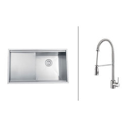 """Ruvati - RVC2366 Stainless Steel Kitchen Sink and Polished Chrome Faucet Set - Ruvati sink and faucet combos are designed with you in mind. We have packaged one of our premium 16 gauge stainless steel sinks with one of our luxury faucets to give you the perfect combination of form and function.; Set includes Stainless Steel Sink, Polished Chrome Faucet, Sink Bottom Grids, Colander, Cutting Board, Basket Strainer(s) and Cutout Template; Soap Dispenser Not Included; Flow Rate: 2.2 GPM; Sink constructed of 16 gauge premium 304 grade stainless steel (18/10 Chromium/Nickel content); Sink features luxurious brushed satin finish - easy to clean and long-lasting; Heavy duty sound guard padding and undercoating on sink minimizes noise; Faucet features solid brass construction for long lasting durability; Ceramic disc Sedal cartridge ensures your faucet will stay free of drips and leaks; Flexible coil spout with pull-out head; Faucet can be installed in up to 2"""" thick countertops; Limited lifetime warranty on sink. 1 year warranty on faucet.; Weight: 59 lbs; Dimensions: Sink: 33"""" x 19"""" (Exterior), Bowl Depth: 10""""; Faucet: Height: 20.47"""" Spout Height: 9.84"""" Spout Reach: 6.21"""""""