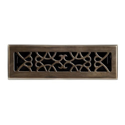 """Brass Elegans 120A AB Brass Decorative Floor Register Vent Cover - Victorian Scr - This antique brass finish solid brass floor register heat vent cover with a victorian scroll design fits 2 1/4"""" x 10"""" x 2"""" duct openings and adds the perfect accent to your home decor."""
