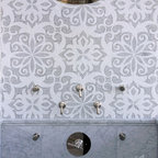 Arabella Stone Mosaic - Arabella, a stone waterjet and hand cut mosaic shown in Carrara and Thassos, is part of the Silk Road Collection by Sara Baldwin for New Ravenna Mosaics.