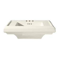 """American Standard - American Standard 0790.008.222 Town Square Sink Top, Linen - American Standard 0790.008.222 Town Square Sink Top, Linen. This pedestal top sink has a classic American design with it's clean straight lines and ogee curves. It comes ith a supplied mounting kit, a rear overflow, and a fireclay construction. This model comes with 8"""" centered faucet mounting hole, and it measures 24"""" by 20-1/4"""", with a 6-1/2"""" bowl depth."""