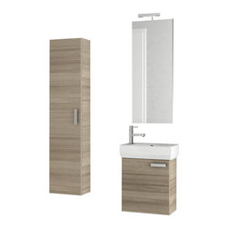 ACF - 18 Inch Larch Canapa Bathroom Vanity Set - Set Includes: Vanity Cabinet (1 Door), high-end fitted ceramic sink, wall mounted vanity mirror, tall storage cabinet.
