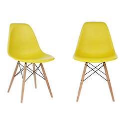 Ariel - S/2 Eames  Molded Dark Yellow Plastic Dining Shell Chair W/ Wood Eiffel Legs - Instantly turn your living quarters into a place for comfortable relaxation with this beautiful 2 dining chair set. Constructed of heavy duty polypropylene seats in matte finish, this stylish chair set is perfect for the home office, training room, or play area. Also available in white, black, or light blue.