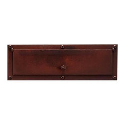Steel Mail Slot - Made of hand-forged steel, this mail slot features simple design with an ornamental knob.