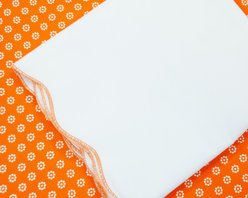 Oliver B - Orange-Burst 2-Piece Crib Bedding Set - Create a stunning space with Oliver B's Orange-Burst crib bedding set.  Includes a mod-dot crib sheet in orange and white, and scallop flat panel crib skirt in white with orange trim.