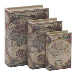 Benzara - Library Storage Books - Wood Fabric Box - Set of 3 13in., 11in., 8in.H - Size: Large: 10 Wide x 4 Depth x 13 High, Medium: 8 Wide x 3 Depth x 11 High, Small: 6 Wide x 2 Depth x 8 High (Inches)