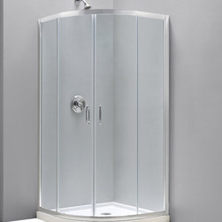 "DreamLine - DreamLine Prime 34 3/8"" by 34 3/8"" Frameless Sliding Shower Enclosure - The Prime shower enclosure is the perfect combination of sophisticated style and brilliant practicality. The corner installation saves space while creating a stunning focal point. Sliding doors create a comfortably wide walk through without claiming the space necessary for a swing door. The Prime offers a unique shape with a neo-round design, achieved with beautifully curved tempered glass. 34 3/8 in. D x 34 3/8 in. W x 72 in. H ,  1/4 (6 mm) clear tempered glass,  Chrome hardware finish,  Frameless glass design,  Out-of-plumb installation adjustability: Up to 3/4 in. per side,  Anodized aluminum profiles and guide rails,  Designed to be installed against finished walls (not directly to studs),  Door opening: 20 3/8 in.,  Stationary panel: Two 13 7/16 in. panels,  Material: Tempered Glass, Aluminum,  Optional SlimLine shower base and shower backwalls available ,  Tempered glass ANSI certifiedProduct Warranty:,  Limited 5 (five) year manufacturer warranty"
