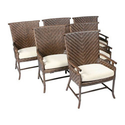 """Ficks Reed - Pre-owned Ficks Reed Dining Chairs - Set of 6 - Classic and comfy! A set of 6 rattan dining chairs in brown with a simple wood frame, produced by Ficks Reed. The chairs include white cotton upholstered foam core cushions.    Arm height: 24 1/2""""  Seat height: 19 1/2"""""""