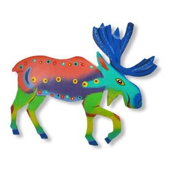 Funky Multicolored Moose Wall Hanging - This beautiful metal wall hanging features a brightly painted teal, green, blue, pink and purple puffin, with black, white and yellow accents. It measures 7 1/2 inches tall, 8 1/2 inches long and about an inch thick. It`ll add a splash of color to any room, and makes a great gift for nature lovers. NOTE: These are hand-painted, one at a time, and there may be slight differences in color and spot pattern from the one pictured.