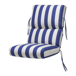 Home Decorators Collection - Outdoor High-Back Chair Cushion - Our stylish Outdoor High-Back Chair Cushions fit high-back dining chairs and high-back recliners. We offer a variety of Sunbrella®, Outdura® and polyester fabrics. Sunbrella® and Outdura® are 100% solution-dyed acrylics. All our fabric options are resistant to UV rays, stains and mildew for long life and lasting color. Resists fading, stains and mildew. Filled with mildew-resistant polyester fibers. Available in a variety of designs and colors. Includes ties for stability.