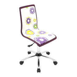 "Lumisource - Printed Office Chair, Daisies - 23"" L x 23"" W x 34 - 38.5"" H"