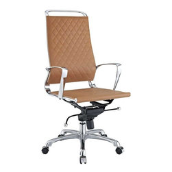 Modway - Vibe Office Chair in Tan - Instill some panache to your office with a chair that says it all. Vibe's modern style reverberates from start to finish. From its diamond patterned leather seat and back, to its high polished chrome frame, if ever there was a chair that turned seating into an artform it would be Vibe. Conveniently adjust your seating position with an easy to use seat tilt lever.The five-star hooded chrome base comes fitted with casters appropriate for any floor. Vibe is also height adjustable with its powerful pneumatic lift. The upward angle of the arms both adds to the distinguished nature of the piece, and helps you properly position your wrists for typing. The chair also comes fully equipped with a tension knob that allows you to personalize the back tilt to fit your particular build and posture. Vibe works just as well in smaller spaces as it does in spacious conference rooms. If you're looking for a modern chair with a bit of vivacity to it, then you've found your match.