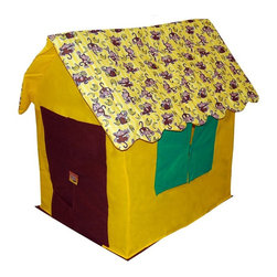 Bazoongi - Bazoongi Going Bananas Monkey Multicolor - KC-GBM - Shop for Tents and Playhouses from Hayneedle.com! Your little one will surely be jumping for joy when you bring home the Bazoongi Going Bananas Monkey! Designed for hours of imaginative play this playhouse will be a big hit with your children and all their friends! Plastic-coated fiberglass poles quickly assemble into a safe and sturdy frame while the industrial-approved spun-bonded body attaches in seconds so your child is ready for fun. The padded doors and windows open and shut letting your child enjoy a rousing game of peek-a-boo with friends. Cleaning up is a breeze once playtime is over thanks to the detachable floor. This playhouse stores away inside a vinyl box with easy-carry handle for convenient portability.Additional Features:Floor detaches for quick easy clean-upsFeatures open and shut doors and windowsPackaged in vinyl box with easy carry handleQuick easy assemblyMeets flammability requirements ASTM-F963 specifications but is not fire proofAll non-woven fabrics and hollow-fill fiber meet CPAI-84For indoor use onlyCare and Safety Instructions:This item is for indoor use only. Direct sunlight can degrade the material. Do not wash; clean only with a damp cloth. Store in a cool dry location; never store wet. Keep playhouse away from heat or open flame.About Bazoongi KidsBased in Addison Texas Bazoongi Kids specializes in fun and practical children's products including backpacks slumber bags lunch boxes trampolines playhouses and tents. Using quality materials and superior craftsmanship they create long-lasting products that kids will eventually outgrow but won't demolish in 10 seconds flat. Bazoongi's in-house designers continue to develop cool stuff that kids will like using a lively sense of color and whimsical imagery to celebrate the joys of childhood.
