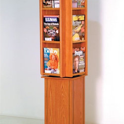 Wooden Mallet - Freestanding Rotary Literature Display Rack ( - Finish: Dark Red MahoganyKeep brochures, magazines and other literature organized and easily accessible with this free-standing display rack, a durable, tilted rack that's crafted of oak in your choice of color options. The piece is an ideal choice for lobbies and reception areas, and can be easily moved with different furniture arrangements. Floor stand units are easy to move when rearranging furniture. Rotates on a metal lazy susan. Furniture quality construction with solid oak sides sealed in a durable state-of-the-art finish. Pictured in Medium Oak. Minimal assembly required. 16.5 in. D x 16.5 in. W x 61.5 in. H (63 lbs.). 1-Year warrantyWooden Mallet's beautiful spinning magazine rack will add a touch of class to any lobby. This rack conveniently displays 40 magazines in a compact body.