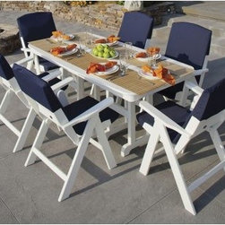 POLYWOOD® Nautical White Dining Set with Slip Cushions - Seats 6 - Turn your patio, deck, garden or outdoor space into a luxury yacht with the POLYWOOD Nautical White Dining Set with Slip Cushions - Seats 6. Crafted from 90% recycled materials, this tasteful patio bar table is a fun and functional addition to any space. The high-quality aluminum frame and durable polywood craftsmanship offer the look of real wood without the maintenance. The resilient polywood does not splinter, crack, chip, peel or rot and it is resistant to corrosive substances, insects, fungi, salt spray and other environmental stresses, for a patio dining set that will adorn your home with style for years to come.Gather up to six friends or family members around the rectangular table for dinner or drinks. Each chair features a slightly reclined back for comfort. For added longevity, cleaning is as easy as soap and water and the easy-to-clean material looks good as new. Choose from a variety of frame finishes for the set that best complements your patio, deck, garden or outdoor space. About Poly-WoodThe advantages of Poly-Wood Recycled Plastic are hard to ignore. Poly-Wood absorbs no moisture and will NOT rot, warp, crack, splinter, or support bacterial growth. Poly-Wood is also compounded with permanent UV-stabilized colors, which eliminates the need for painting, staining, waterproofing, stripping, and resurfacing. This material is impervious to many substances, including salt water, gasoline, paint, stains, and mineral spirits. In addition, every Poly-Wood product comes with stainless steel hardware.Poly-Wood is extremely easy to clean and maintain. Simple soap and water is all you need to get rid of dirt and make your furniture look new again. For extreme cleaning needs, you can use a 1/3 bleach and water solution. Most Poly-Wood furnishings are available in a variety of classic colors, which allow you to choose your favorite or coordinate with the furniture you already have. This is sure to be a piece that you will be proud to own for a lifetime.