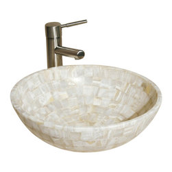 """The Allstone Group - L-VMR-SR-16W Polished #15 Vessel Sink - Natural stone strikes a balance between beauty and function. Each design is hand-hewn from 100% natural stone.  Allstone mosaic vessel sinks are our only product that is not carved from one single piece of stone.  Onyx was used in Egypt as early as the Second Dynasty to make bowls and other pottery items. Onyx is also mentioned in the Bible at various points, such as in Genesis 2:12 """"and the gold of that land is good: there is bdellium and the onyx stone"""", and such as the priests' garments and the foundation of the city of Heaven in Revelation."""