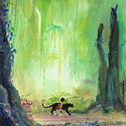 Disney Fine Art - Disney Fine Art Mowgli and Bagheera by Harrison Ellenshaw - Mowgli and Bagheera Premiere by Disney Fine Art  -  Medium: Hand-Embellished Limited Edition on Canvas  -  Embellished and Hand-Signed by Harrison Ellenshaw  -  Image Dimensions: 20 x 16  -  Edition Size: 95  -  Produced by Collector's Editions  -  Fully Authorized Disney Fine Art Dealer  -  Ships Rolled in a Tube  -  From The Walt Disney Motion Picture Jungle Book