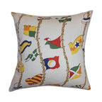 """The Pillow Collection - Inagua Flags Pillow Multi - Turn your home into a festive place by adding this throw pillow. This accent pillow features a flag pattern in various colors. This multicolored square pillow is ideal for your living room, bedroom and guestroom. Pair this with other fun patterns like geometric, stripes and more. This 18"""" pillow is made from 100% soft cotton fabric. Hidden zipper closure for easy cover removal.  Knife edge finish on all four sides.  Reversible pillow with the same fabric on the back side.  Spot cleaning suggested."""