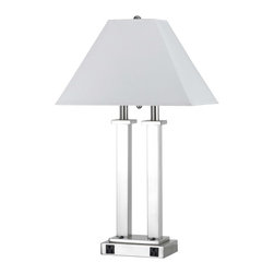 """Cal Lighting - Contemporary Rio Brushed Steel Desk Lamp with Power Outlets - Get superior style and usability with this attractive desk lamp from the Rio Collection. It features a brushed steel finish an eye-catching twin pillar body and convenient dual power outlets. Transform a home or office desk with this beautiful fixture. Brushed steel finish. Square hardback shade. Dual power outlets. Takes two 60 watt bulbs (not included). 11"""" wide shade. 26"""" high.  Brushed steel finish.  Square hardback shade.  From the Cal Lighting collection of desk lamps.  Each light controlled by separate base rocker switch.  Takes two 60 watt bulbs (not included).  Dual power outlets.  11"""" wide shade.  26"""" high.  5-1/2"""" x 8"""" base."""