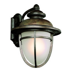 "Trans Globe Lighting - LED Miners 15"" Wall Lantern - LED fixture brings low voltage solutions to outdoor lighting. Traditional coal mine acorn lantern. Scalloped wall plate with cross bar frame and slightly curved arm wall arm. In dark rust UL Listed for Wet locations;Powder coated finish;Frosted glass dish shade;LED bulb included in a Vintage outdoor wall fixture, equals up to 60 watts of brightness;Matching outdoor collection;Bulb Type: LED;Bulb Wattage: 10W LED;No. of Lights: 8;Bulbs Included: Yes;UL Listed: WET;Warranty: Limited 1 year waranty Dimensions: 15.5"" H x 12"" W"