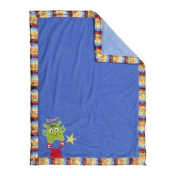 Bananafish Baby Monster Blanket - The Bananafish Baby Monster Blanket will have your tiny tot wrapped up all nice and warm. Made with soft, cozy cotton, this children's blanket features an adorable monster applique with a colorful striped border. Machine wash on cold.About BananafishBananafish was founded in 1997 and has grown to become a leading manufacturer of infant bedding and nursery décor. In 2007 Bananafish became part of the Betesh Group family. Bananafish has found success tapping into global design resources to bring the latest trends to their product lines. While on-trend, they still manage to balance a look that appeals to classic and contemporary tastes. You'll find Bananafish products featured in all the hot media, such as Pregnancy Magazine, American Baby, HGTV.com, OK Pregnancy and Newborn, and more. Luxurious comfort, superior quality, and style that lasts, Bananafish will help you create a nursery that delights.