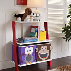 Altra - Altra 'Luci' 2-bin Ladder Bookcase - If your kid's bedroom is starting to feel like a zoo,let this adorable bookcase help tame the clutter. This bookcase has two open shelves with monkey and owl storage bins in white,with bright red sides.
