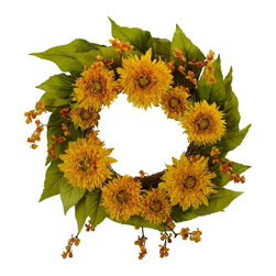 """Nearly Natural - Golden Sunflower Wreath - Add a burst of sunshine to your decor. Set upon a backdrop of twigs and foliage. A literal explosion of blooms. Construction Material: Polyester material, Iron wire, Wood. 22 in. W x 22 in. D x 22 in. H ( 2 lbs. )Add a burst of pure sunshine to your decor with this incredible 22"""" Golden Sunflower Wreath. Set upon a backdrop of twig wreath and delicate green foliage is a literal explosion of yellow blooms, which will instantly brighten any area you hang it in. Makes a great gift as well, as nothing says """"cheery"""" quite like the sunflower."""