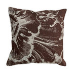 123 Creations - Rosette, Hand-printed Linen Pillow - Hand-printed on unbleached linen fabric. Feather-down insert with zipper closure. Machine wash cold with like colors, no bleach, tumble dry low.