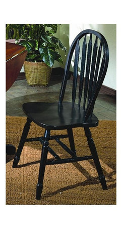 Sunset Trading - 38 in. Eco-Friendly Arrowback Chair - Traditional classic beauty and Windsor style. Sturdy quality craftsmanship. Large backrest and seating area to provide ideal seating solution. Perfectly carved and steel reinforced turned legs. Warranty: One year. Made from Malaysian oak. Antique black finish. Made in Malaysia. No assembly required. 20 in. W x 19.5 in. D x 38 in. H (16 lbs.)This beautifully designed dining chair supplied by Sunset Trading will assure you many years of use and enjoyment. Complete your dining decor with the country charm of timeless casual dining chairs from the Sunset Trading - Sunset Selections Collection. yet always dependably functional, your family and friends will enjoy the seating comfort of these inviting relaxed dining chairs for years to come! Pair with your choice of coordinating Sunset Selections dining tables to bring a touch of country warmth your home!
