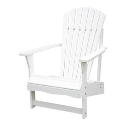 International Concepts - Wood Adirondack Chair - You'll find no greater pleasure than relaxing in this chair.  Adirondacks are simply the best when it comes to enjoying a fresh breeze wafting across the lawn.  Classic fan back complements the seat with a rolled edge to provide extra leg comfort. * Reclined seat and wide armrests. Made of solid wood. Polyurethane finish. Minimal assembly required. 28.25 in. W x 34 in. D x 37.5 in. H (21.8 lbs.). Seat height: 13.7 in.. Arm height: 22.9 in.