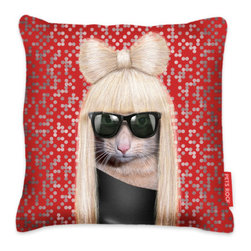 Inova Team -Modern Pillow Cover - You may not know it, but animals definitely have a sense of humor. They hide their poop in the funniest places and simply think it's hilarious when they scare the crap out of your new date. Apparently, they also do impersonations. This throw pillow features a slobberer-turned celebrity on one side of the cushion. It's about time you got a little face time with the stars.