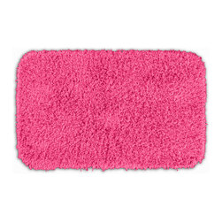 None - Quincy Super Shaggy Pink Washable 24x40 Bath Rug - Jazz up the bathroom,shower room,or spa with a bright note of color while adding comfort you can sink your toes into with the Quincy Super Shaggy bathroom collection. The pink rug is created from soft,durable,machine-washable nylon.