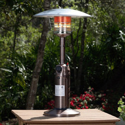 Fire Sense - Copper Finish Table Top Patio Heater - Perfect for outdoor entertaining, our Copper Finish Table Top Patio Heater provides warmth while adding ambience to any outdoor table top setting. This handsome unit raises the outdoor temperature 10-25 degrees. The safety features of this CSA approved unit include an auto shut off tilt valve and an oxygen depletion sensor. 10,000 BTU output. CSA approved.