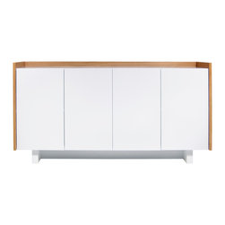 Temahome - Skin Sideboard - Skin sideboard stands for simplicity and pure functionality. The immaculate white is broken by the thin width wood veneer which surrounds the piece on its outside, and covers the whole piece inside. With four doors and lots of storage space, all that is seen are the marvelous lines of this amazing piece suited for living, dinner rooms or even kitchens.