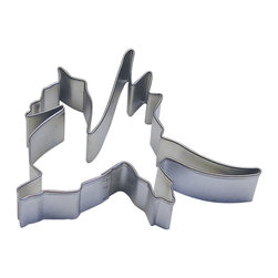 "RM - Dragon Tin Cookie Cutter 4 In. B0872 - Dragon cookie cutter, made of sturdy tin, Size 4"" wide front toe to tip of tail., 3.5"" tall from tip of front toe to tip of wing. Depth 7/8 in., Color silver."
