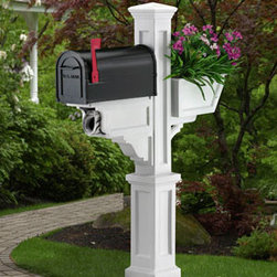 Mayne Signature Mailbox Package in White, With Flower Box - This is the Mayne Signature Plus Mailbox Package, shown in white.  It is adorned with a gorgeous flower box on the back.  This mailbox package includes the post and the mailbox, and retails for $306.07 with free shipping at http://www.mailboxixchange.com