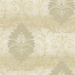 Seabrook Wallcoverings - Crenshaw Damask, Wallpaper - Brown Crenshaw Damask Wallpaper