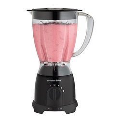 Hamilton Beach - Space Saving Blender - From Proctor-Silex, this blender features Stainless Steel blades, 8 speeds and 375 Watts of power. The large 48 oz. jar is dishwasher safe and flips over for space-saving storage.
